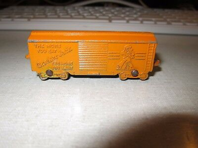 Vintage Cracker Jack Prize Tootsie Toy Train Boxcar Usa Metal Advertising 1939