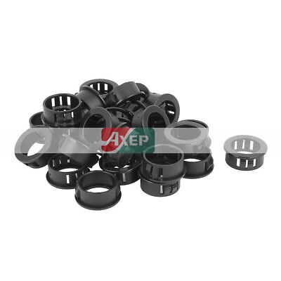 """30 Pcs 25mm 1"""" Mounted Dia Snap in Cable Bushing Grommet Protector Black 22mm ID"""