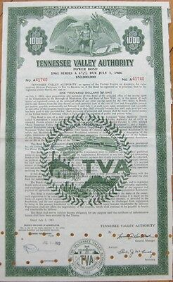 TVA / Tennessee Valley Authority 1961 Bond Certificate - TN