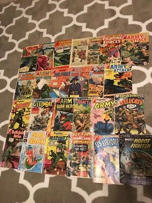 Lot Of Old Vintage Comics Submarine Attack, Army Attack, Fightin Marines