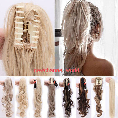 100% Natural Long Ponytail Thick Lady Claw Clip on in Pony Tail Hair Extensions
