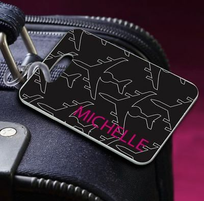 Black Airplane Personalized Suitcase Luggage Tag Travel Vacation Gift Q67074