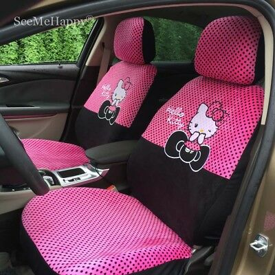 Car Seat Covers Pink Black Hello Kitty Cartoon Universal Car Interior 18 Pieces