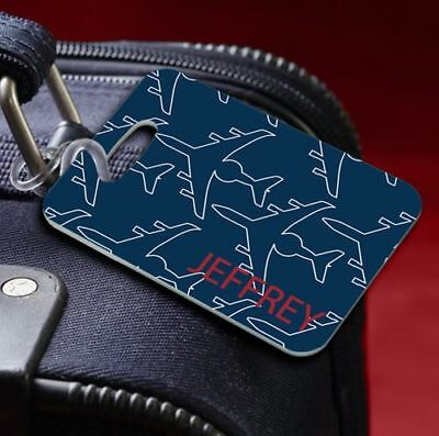 Blue Airplane Personalized Suitcase Luggage Tag Travel Vacation Gift Q67074