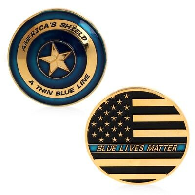 America Shield Blue Line Commemorative Challenge Coin Collectible Gift Golden