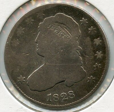 1828 P Capped Bust Quarter, Good condition, US Silver Coin 25C  RA0076