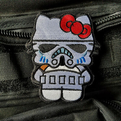 Cartoon Hello Kitty Star Wars Scout Trooper  Hook Patch Embroidered Morale White