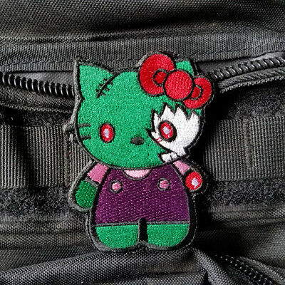 Cartoon Cute Hello Kitty Zombie Cat Hook Patch Embroidered Tactical Morale Badge