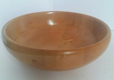 "Vintage Baribocraft Maple Wood Serving Bowl 10"" Made In Canada Deluxe Woodenware"