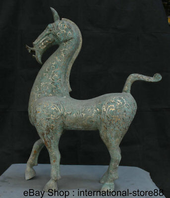 """30"""" Large Antique China Bronze Silver Dynasty Palace Stand Tang Horse Sculpture"""