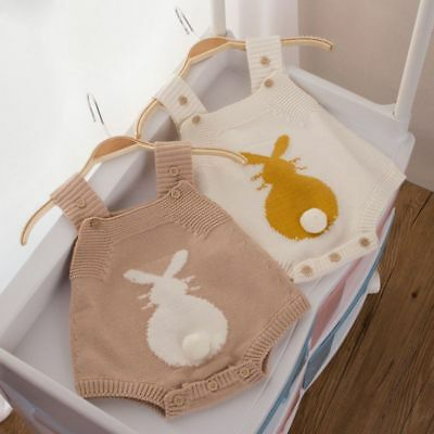 Baby Kids Hot Rabbit Knitted Halter Jumpsuit Romper Bodysuit Strap Clothes
