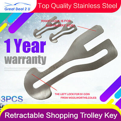Removable Shopping Trolley Keys Stainless Steel AU$1 COIN SLOT ALDI COLES X3