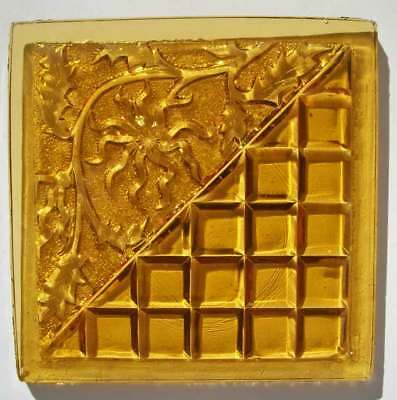 "Antique Addison Gold Amber Glass Tile Triangle Block & Floral motif 5"" Sq."