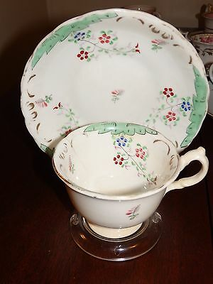 Antique Porcelain/ceramic HAND PAINTED Teacup & Saucer- White with Green 1800's?