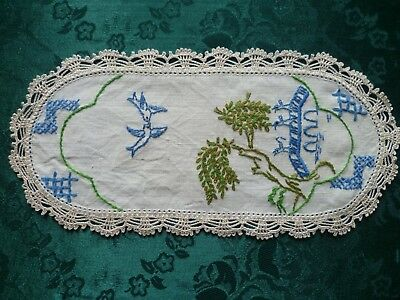 Vintage Hand Embroidered Blue Willow Sandwich Doiley With Cream Crocheted Edge