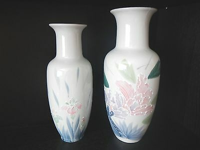 "Japanese Satsuma White Hand Painted Porcelain Vases 12"" and 11"" Tall"