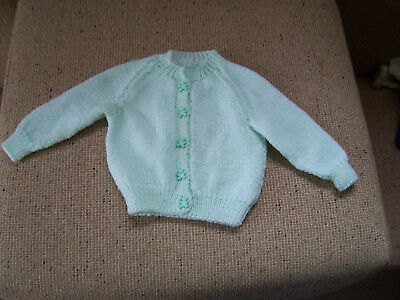 New Hand Knitted Baby Cardigan Pale Green  3 -6  Mths App