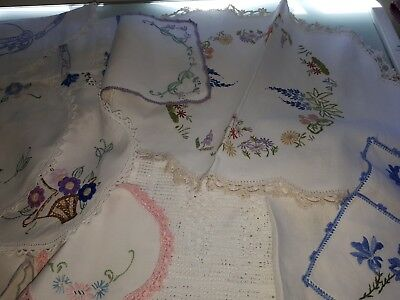 Vintage Hand Embroidered Doilies - Great Assorted Lot!