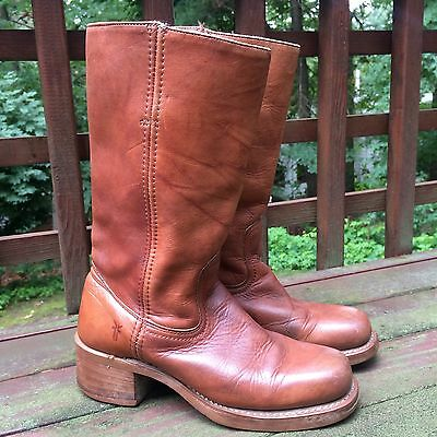 1970's Vintage Brown Leather Black Label Frye Campus Boots Women's size 7.5