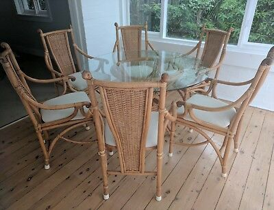 6 cane dining chairs vintage with glass table