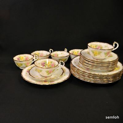 Royal Standard 6 Trios Cup Saucer Dessert Plate 1949-1966 Charmaine FLORAL GOLD