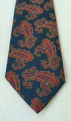 Mens Vintage Retro Tie Embroidered Brown Red Blue Paisley Design On Navy Blue