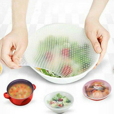 Stretch Reusable Silicone Bowl Food Storage Kitchen Wraps Cover Seal Fresh Lid