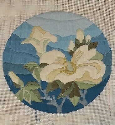 Vintage Blue White Lily Flower Complete Finished Tapestry Canvas Longstitch 29cm