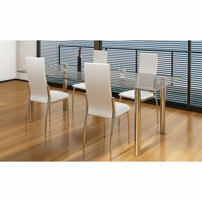 Modern Dining Chairs Set of 4 High Back White Artificial Leather Chair Iron Legs