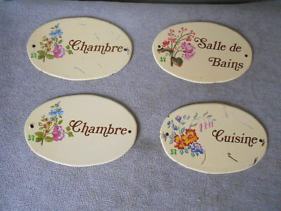 4 French Oval tin wall door Plaques signs