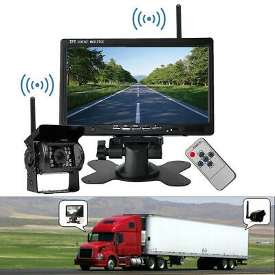 "Wireless IR Night Vision Rear View Backup Camera+7"" TFT Monitor Kit For RV Truck"