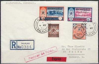 "1971 Oman Muscat R-Cover to Germany, clean ""SALALAH"" cds and label [bl0324]"