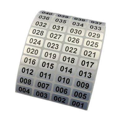 Waterproof Consecutive Number, Inventory stickers on Silver Sticker 500 Labels