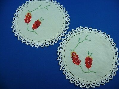 2 x VINTAGE HAND EMBROIDERED FLORAL SMALL DOILEYS CREAM LACE EDGE
