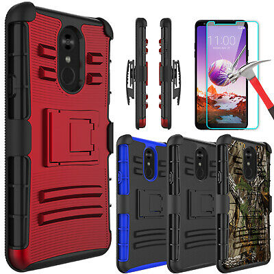 For LG Stylo 4/4 Plus/Stylo 3 Armor Case With Kickstand Clip + Screen Protector