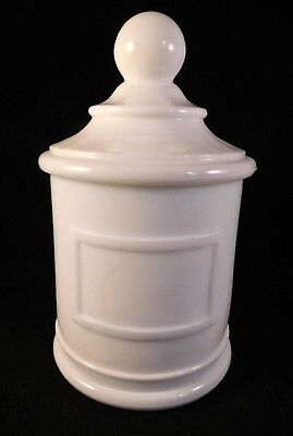Barber's/Pharmacist's Sanitary White Milk Glass Apothecary Jar, Indent for Label