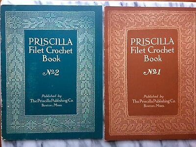 RARE Authentic 1925 Priscilla Set No. 1 & 2 Crochet Book Boston, Mass. Original