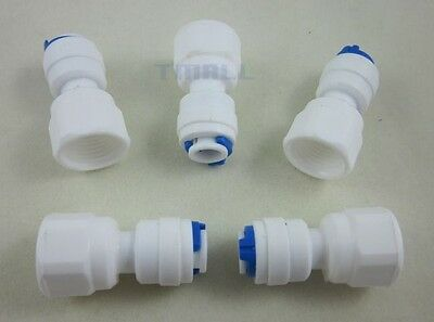 """5pcs 1/4"""" Thread Female to 1/4"""" Push Fit Tube Quick Connect f RO Reverse Osmosis"""