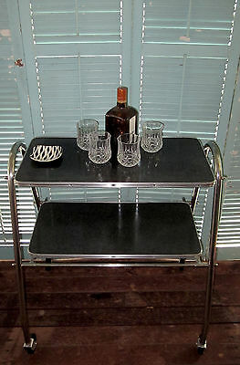 Vintage Art Deco Two Tier Drinks Trolley service atomic industrial eames