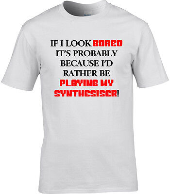 Synthesiser Mens T-Shirt I'd Rather Be Playing Funny Gift Idea Music Synth Band
