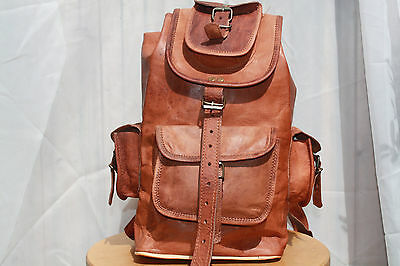 Vintage Style Real Genuine Leather Handmade rucksack backpack (lx21Hx39xW10cm)