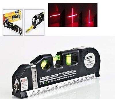 Tape Measure Multi Purpose DIY Spirit Level With Laser Horizontal Cross 8ft Tool