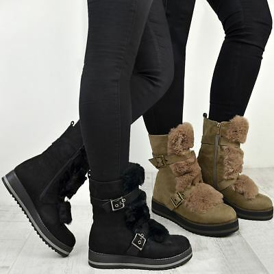 Womens Ladies Low Wedge Flat Winter Snow Ankle Boots Fleece Lining Shoes Size