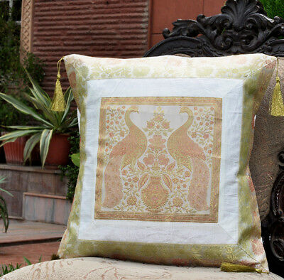 Silk Cushion Cover Brocade White Tassel Indian Square Sofa Couch Bed Pillow Case