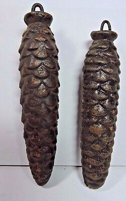 Antique Vintage Grandfather Clock Weights in the shape of PINE CONES Pinecones