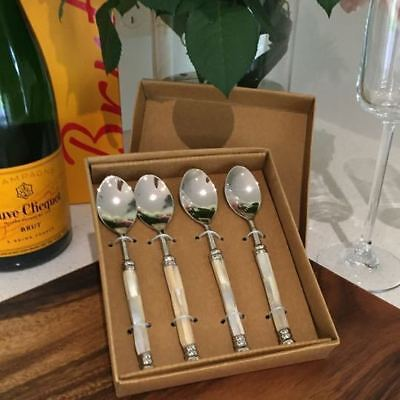 Mother of Pearl Spoon Set of 4 Dip Canapé Pate Gift Boxed