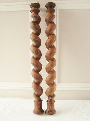 Pair Antique Barley Twist Spiral Turned Oak Columns Posts Architectural Elements