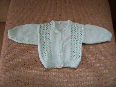 New Hand Knitted Baby Cardigan Pale Green 0 - 3 Months Approx