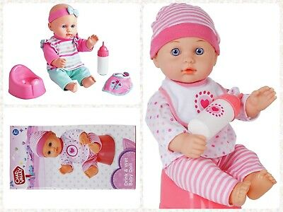 30cm Baby Doll Drink & Wet function Role Play Toy Set with Milk Bottle Bib Potty
