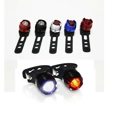 Aluminium Bullet LED Front and Rear Cycle Bike Light Set - 3 Mode with Batteries